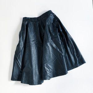 Francesca's   Vegan Leather Midi A-line Skirt